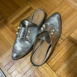 Schutz Silver and Pearl Loafer